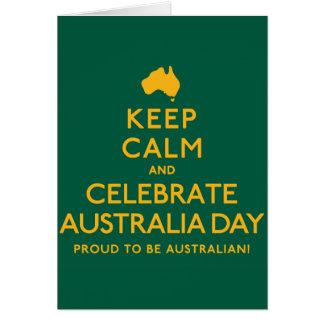 Tarjeta ¡Mantenga tranquilo y celebre el día de Australia!