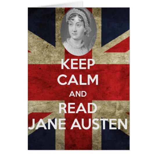 Tarjeta Mantenga tranquilo y lea a Jane Austen