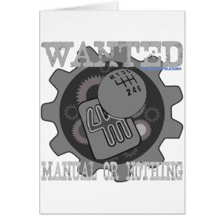Tarjeta manual querido o nada (caja de cambios)