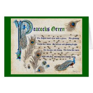 Tarjeta Manuscrito verde de los pavos reales