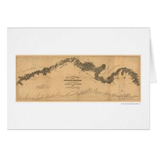 Tarjeta Mapa 1839 del ferrocarril de Gettysburg