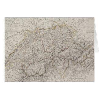 Tarjeta Mapa antiguo de Suiza