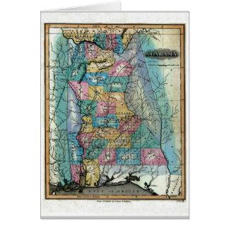 Tarjeta Mapa de Alabama y bandera del estado