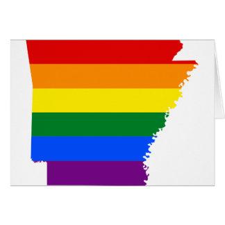 Tarjeta Mapa de la bandera de Arkansas LGBT