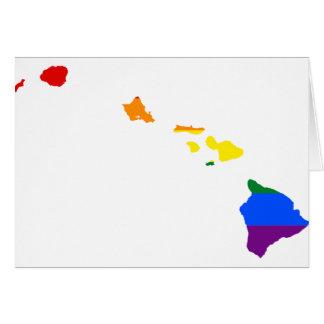 Tarjeta Mapa de la bandera de Hawaii LGBT