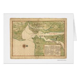 Tarjeta Mapa de Manhattan y de la región 1639 de New York