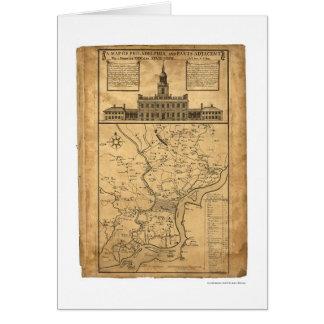 Tarjeta Mapa de Philadelphia y de las partes 1752
