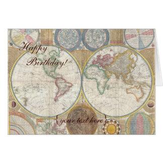 Tarjeta Mapa de Viejo Mundo histórico, 1794 - feliz