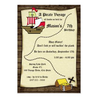 Tarjeta Mapa del viaje del cumpleaños del pirata
