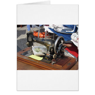 Tarjeta Máquina de coser del vintage en el mercado de