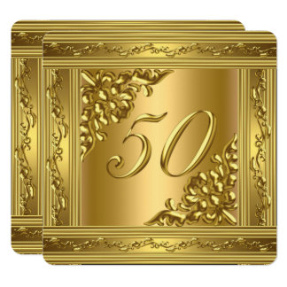 Tarjeta Marco de oro 50 del 50.o de cumpleaños oro