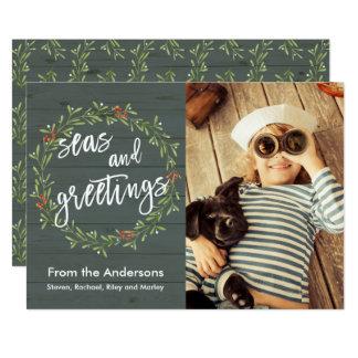 Tarjeta Mares y foto náutica del navidad de los saludos