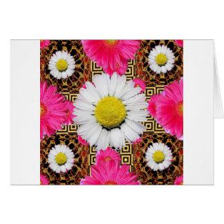 Tarjeta Margarita de Shasta y regalos rosados del Gerbera