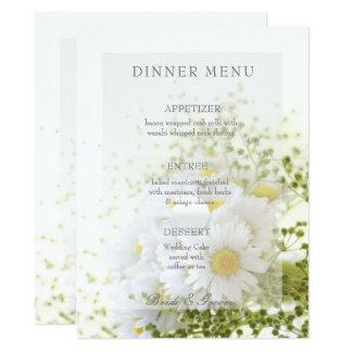 Tarjeta Margaritas en menú Editable del ramo del boda del