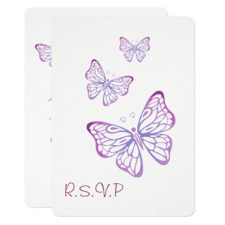 Tarjeta Mariposa con clase rosada de color de malva