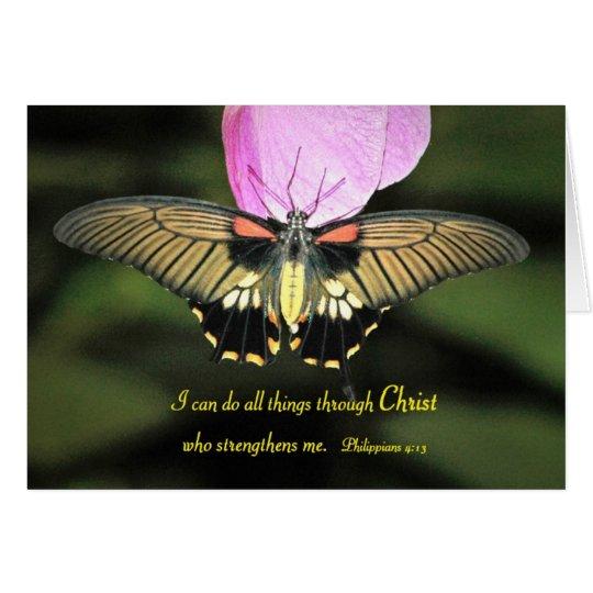 Tarjeta Mariposa con verso cristiano
