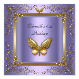 Tarjeta Mariposa de la púrpura del oro de la fiesta de