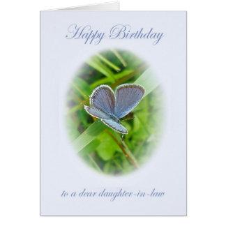 Tarjeta Mariposa del azul del cumpleaños de la nuera