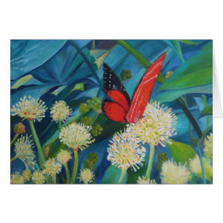 Tarjeta Mariposa en flores