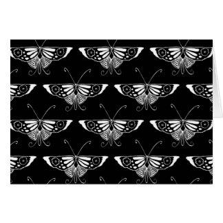 Tarjeta Mariposa estilizada de Deco - blanco y negro