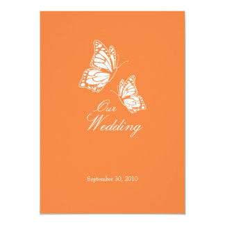 Tarjeta Mariposas anaranjadas simples que casan la