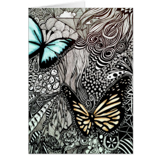 Tarjeta Mariposas en diseño blanco y negro