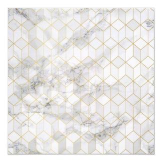 Tarjeta Mármol blanco con el modelo del cubo del oro