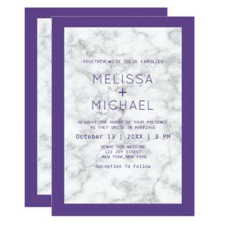 Tarjeta Mármol moderno y boda púrpura