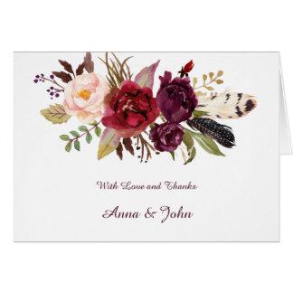 Tarjeta Marsala, Borgoña, rojo, los rosas blancos Boho le