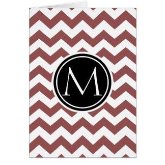 Tarjeta Marsala Chevron con monograma