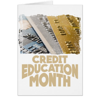 Tarjeta Marzo - mes de la educación del crédito - día del