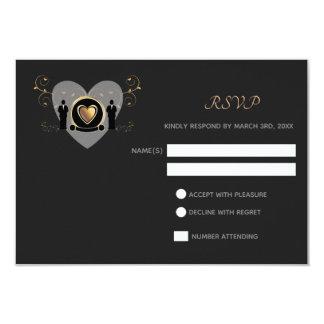 Tarjeta masculina del boda el | RSVP del corazón