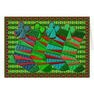 Tarjeta Medias bordadas modeladas del navidad