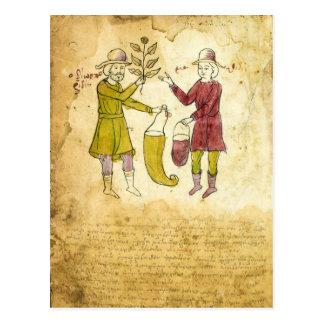 Tarjeta medieval del ejemplo del manuscrito del