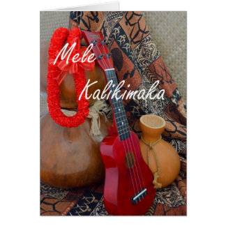 Tarjeta Mele Kalikimaka con los leus rojos de la cinta