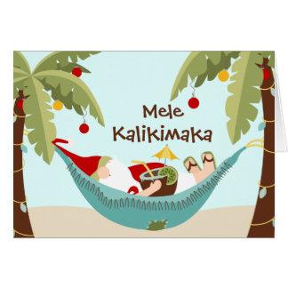 Tarjeta Mele Kalikimaka Santa tropical