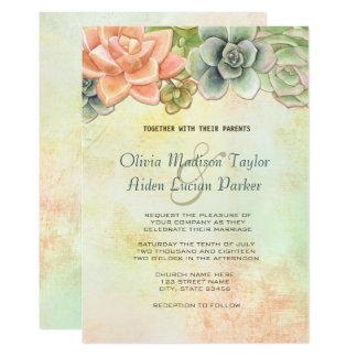 Tarjeta Melocotón floral del boda de la acuarela suculenta