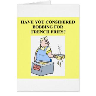 Tarjeta meneo para las patatas fritas