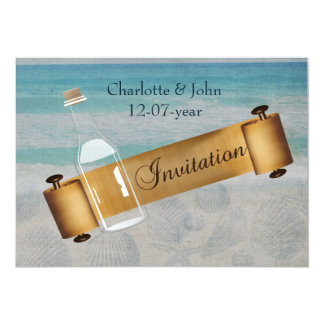 Tarjeta Mensaje en un boda de playa de la botella