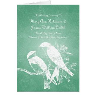 Tarjeta Menta elegante de los pájaros del amor del