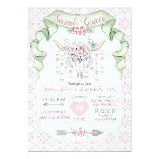 Tarjeta Menta floral tribal del rosa de las flechas de los