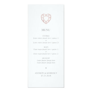 Tarjeta Menú color de rosa simple del boda del corazón del