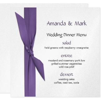 Tarjeta Menú de la bodas de plata con la cinta púrpura