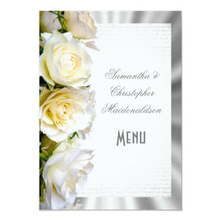 Tarjeta Menú de la bodas de plata floral y del rosa blanco