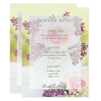 Tarjeta Menú del boda del vintage de las lilas y de los