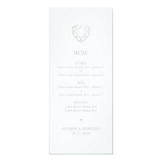 Tarjeta Menú geométrico de plata del boda del corazón