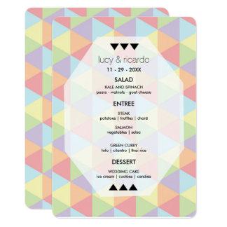 Tarjeta Menú geométrico del boda del arco iris en colores