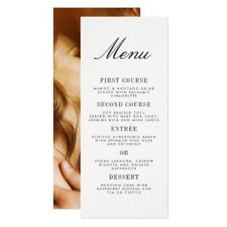 Tarjeta Menú minimalista del boda de la foto de la
