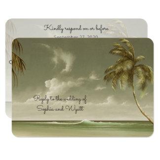 Tarjeta Menú RSVP del boda de playa de las palmeras del