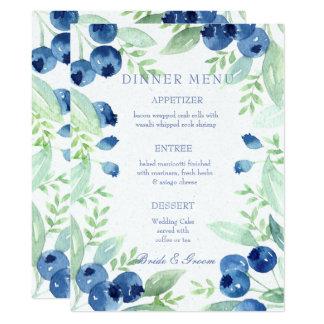 Tarjeta Menú rústico del boda de la baya del pleno verano